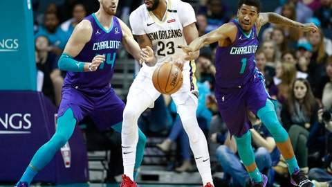 <p>               Charlotte Hornets guard Malik Monk, right, steals the ball away from New Orleans Pelicans center Anthony Davis as Hornets forward Frank Kaminsky, left, watches in the first half of an NBA basketball game Sunday, Dec. 2, 2018 in Charlotte, N.C. (AP Photo/Jason E. Miczek)             </p>