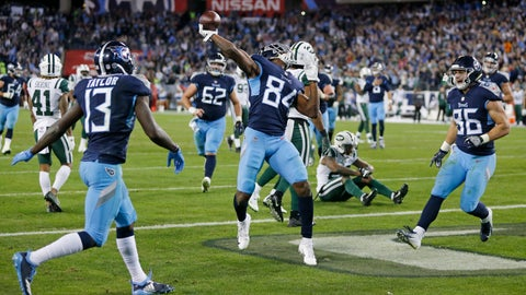 <p>               Tennessee Titans wide receiver Corey Davis (84) celebrates after scoring a touchdown on an 11-yard pass against the New York Jets in the fourth quarter of an NFL football game Sunday, Dec. 2, 2018, in Nashville, Tenn. The touchdown gave the Titans a 26-22 win. (AP Photo/James Kenney)             </p>