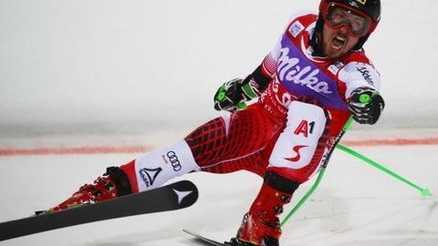<p>               Austria's Marcel Hirscher crosses the finish line to win a ski World Cup men's Parallel Giant Slalom, in Alta Badia, Italy, Monday, Dec. 17, 2018. (AP Photo/Marco Trovati)             </p>