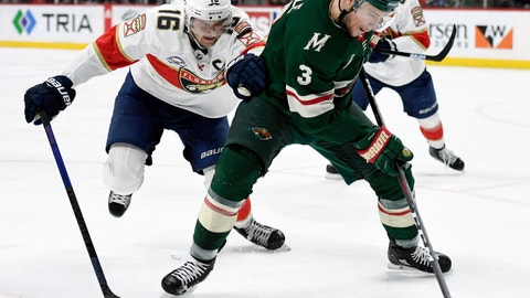 <p>               Minnesota Wild's Charlie Coyle (3) has the puck against Florida Panthers' Aleksander Barkov (16), of Finland, during the second period of an NHL hockey game Thursday, Dec. 13, 2018, in St. Paul, Minn. (AP Photo/Hannah Foslien)             </p>