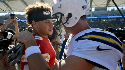 <p>               FILE - In this Sunday, Sept. 9, 2018, file photo, Kansas City Chiefs quarterback Patrick Mahomes, left, greets Los Angeles Chargers quarterback Philip Rivers after a win in an NFL football game in Carson, Calif. The Kansas City Chiefs are missing their star running back, likely without his backup and could have their top two wide receivers hobbled or shelved for their crucial AFC West showdown against the Los Angeles Chargers on Thursday, Dec. 13. (AP Photo/Kelvin Kuo, File)             </p>