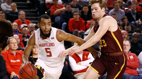 <p>               Maryland guard Eric Ayala, left, drives past Loyola-Chicago guard Cooper Kaifes in the first half of an NCAA college basketball game, Saturday, Dec. 8, 2018, in Baltimore. (AP Photo/Patrick Semansky)             </p>