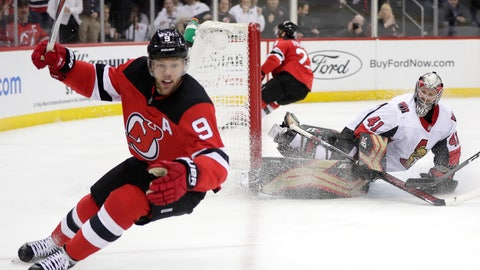 <p>               Ottawa Senators goaltender Craig Anderson right, watches as New Jersey Devils left wing Taylor Hall (9) celebrates after scoring a goal during the second period of an NHL hockey game, Friday, Dec. 21, 2018, in Newark, N.J. (AP Photo/Julio Cortez)             </p>