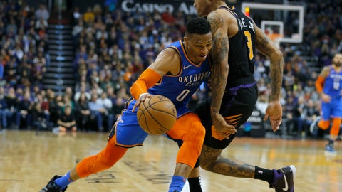 <p>               Oklahoma City Thunder guard Russell Westbrook (0) gets fouled by Phoenix Suns forward Kelly Oubre Jr in the first half during an NBA basketball game, Friday, Dec. 28, 2018, in Phoenix. (AP Photo/Rick Scuteri)             </p>