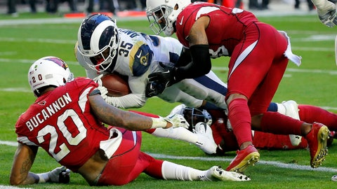 <p>               Los Angeles Rams running back C.J. Anderson (35) scores a touchdown as Arizona Cardinals outside linebacker Deone Bucannon (20) and Arizona Cardinals defensive back David Amerson defend during the first half of an NFL football game, Sunday, Dec. 23, 2018, in Glendale, Ariz. (AP Photo/Rick Scuteri)             </p>