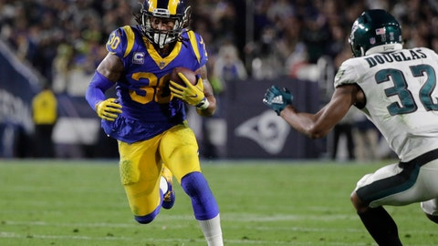 <p>               File-This photo taken Dec. 16, 2018, shows Los Angeles Rams' Todd Gurley carrying the ball during an NFL football game against the Philadelphia Eagles in Los Angeles. Gurley has been ruled out of Los Angeles' regular-season finale Sunday, Dec. 30, 2018, against San Francisco with a knee injury. Gurley will miss the Rams' final two games of the regular season due to the injury, but McVay says he isn't concerned about the star running back's availability for the playoffs. (AP Photo/Jae C. Hong, File)             </p>