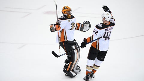 <p>               Anaheim Ducks goaltender Ryan Miller (30) celebrates with defenseman Josh Manson (42) after an NHL hockey game against the Washington Capitals, Sunday, Dec. 2, 2018, in Washington. The Ducks won 6-5. (AP Photo/Nick Wass)             </p>