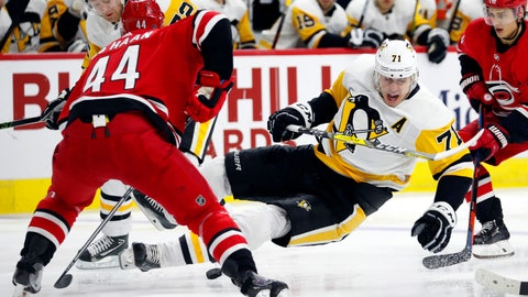 <p>               Pittsburgh Penguins' Evgeni Malkin (71) goes to the ice after colliding with Carolina Hurricanes' Calvin de Haan (44) during the second period of an NHL hockey game, Saturday, Dec. 22, 2018, in Raleigh, N.C. (AP Photo/Karl B DeBlaker)             </p>