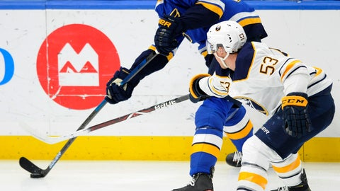 <p>               St. Louis Blues' Colton Parayko (55) gets the puck around Buffalo Sabres' Jeff Skinner 53) during the first period of an NHL hockey game, Thursday, Dec. 27, 2018, in St. Louis. (AP Photo/Bill Boyce)             </p>