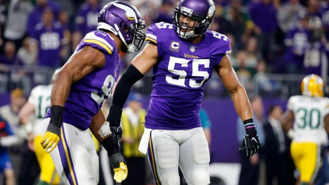 <p>               FILE - In this Nov. 25, 2018, file photo, Minnesota Vikings defensive end Danielle Hunter, left, celebrates with teammate Anthony Barr (55) after sacking Green Bay Packers quarterback Aaron Rodgers during the second half of an NFL football game in Minneapolis. Minnesota's defense has been dominant down the stretch, and the Vikings have three Pro Bowlers on that side of the ball to show for it with Danielle Hunter, Anthony Barr and Harrison Smith. (AP Photo/Bruce Kluckhohn, File)             </p>