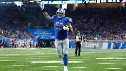 <p>               Detroit Lions offensive tackle Taylor Decker runs into the end zone for an 11-yard touchdown during the second half of an NFL football game against the Los Angeles Rams, Sunday, Dec. 2, 2018, in Detroit. (AP Photo/Duane Burleson)             </p>