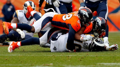 <p>               FILE - In this Oct. 14, 2018, file photo Denver Broncos linebackers Von Miller (58) and Bradley Chubb sack Los Angeles Rams quarterback Jared Goff (16) during the first half of an NFL football game in Denver. Miller is in the midst off his best sack streak ever, spanning eight weeks. He's tied Simon Fletcher's franchise record for most sacks, including the playoffs with 103½, and he's teamed with rookie Bradley Chubb to form the best pass-rushing pair in the NFL, one that boasts 25½ sacks so far. (AP Photo/Joe Mahoney, File)             </p>