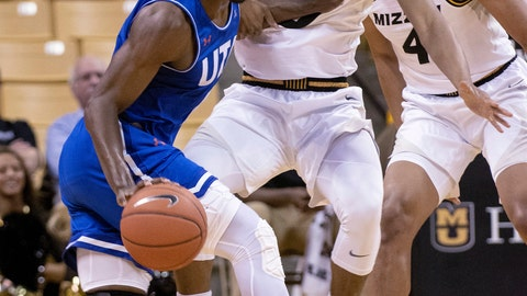 <p>               CORRECTS ID TO TORRENCE WATSON NOT EVAN YERKES Texas-Arlington's David Azore, left, pushes past Missouri's Torrence Watson, right, during the first half of an NCAA college basketball game Tuesday, Dec. 4, 2018, in Columbia, Mo. (AP Photo/L.G. Patterson)             </p>