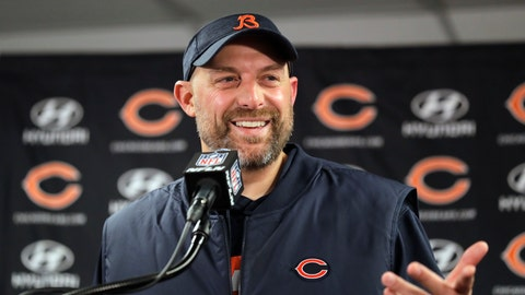 <p>               FILE - In this Sunday, Nov. 18, 2018 file photo, Chicago Bears head coach Matt Nagy speaks at a news conference after an NFL football game against the Minnesota Vikings in Chicago. Chicago first-year coach Matt Nagy has been picked by a panel of AP football writers as having done the best coaching job in 2018. Nagy has helped develop Mitchell Trubisky and has the Bears poised for their first playoff berth since 2010. Nagy beat out Seattle's Pete Carroll and Kansas City's Andy Reid in the voting. (AP Photo/Nam Y. Huh, File)             </p>