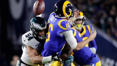 <p>               Philadelphia Eagles outside linebacker Kamu Grugier-Hill, left, forces a fumble by Los Angeles Rams quarterback Jared Goff during the second half in an NFL football game Sunday, Dec. 16, 2018, in Los Angeles. (AP Photo/Jae C. Hong)             </p>