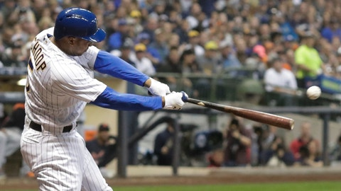 <p>               FILE - In this Sept. 29, 2018, file photo, Milwaukee Brewers' Jonathan Schoop hits an RBI-double during the fourth inning of a baseball game against the Detroit Tigers in Milwaukee. A person with knowledge of the negotiations tells The Associated Press that the Minnesota Twins and Schoop are working toward an agreement on a $7.5 million, one-year contract for the free agent second baseman.(AP Photo/Morry Gash, File)             </p>
