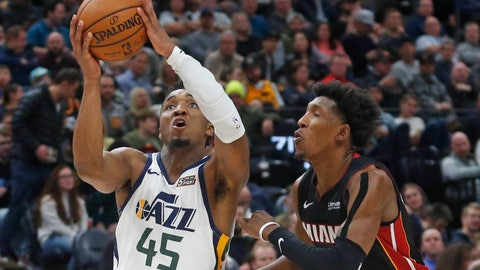 <p>               Utah Jazz guard Donovan Mitchell (45) goes to the basket as Miami Heat guard Josh Richardson (0) defends in the second half of an NBA basketball game Wednesday Dec. 12, 2018, in Salt Lake City. (AP Photo/Rick Bowmer)             </p>