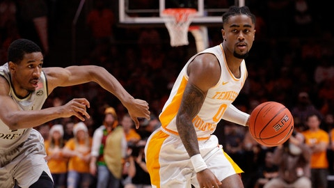 <p>               Tennessee guard Jordan Bone (0) brings the ball down court while Wake Forest guard Torry Johnson (4) defends in the first half of an NCAA college basketball game Saturday, Dec. 22, 2018, in Knoxville, Tenn. (AP Photo/Shawn Millsaps)             </p>