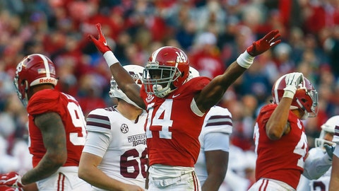 <p>               FILE - In this Nov. 10, 2018, file photo, Alabama defensive back Deionte Thompson (14) celebrates after Mississippi State place kicker Jace Christmann (47) missed a field goal-attempt during the first half of a game, in Tuscaloosa, Ala. Thompson was named to the 2018 AP All-America NCAA college football team, Monday, Dec. 10, 2018. (AP Photo/Butch Dill, File)             </p>