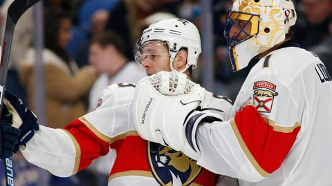<p>               Florida Panthers Evgenii Dadonov (63) and goalie Roberto Luongo (1) celebrate a victory over the Buffalo Sabres following the third period of an NHL hockey game, Tuesday, Dec. 18, 2018, in Buffalo N.Y. (AP Photo/Jeffrey T. Barnes)             </p>