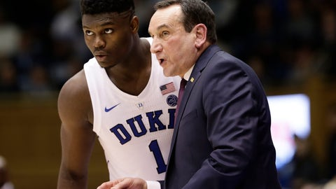 <p>               Duke's Zion Williamson (1) listens to coach Mike Krzyzewski during the first half of an NCAA college basketball game against Yale in Durham, N.C., Saturday, Dec. 8, 2018. (AP Photo/Gerry Broome)             </p>