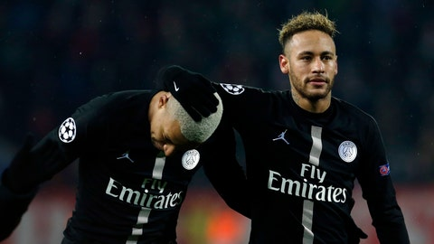 <p>               PSG forward Neymar, right, and PSG forward Kylian Mbappe, celebrate after they defeated Red Star during the Champions League group C soccer match, in Belgrade, Serbia, Tuesday, Dec. 11, 2018. (AP Photo/Darko Vojinovic)             </p>