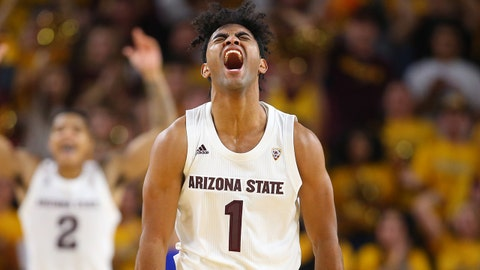 Dec 22, 2018; Tempe, AZ, USA; Arizona State Sun Devils guard Remy Martin (1) celebrates in the second half against the Kansas Jayhawks at Wells Fargo Arena (AZ). Mandatory Credit: Mark J. Rebilas-USA TODAY Sports