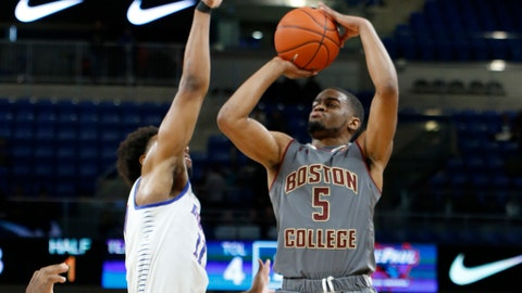 CHICAGO, ILLINOIS - DECEMBER 22: Wynston Tabbs #5 of the Boston College Eagles shoots against the DePaul Blue Demons in the first half at Wintrust Arena on December 22, 2018 in Chicago, Illinois. (Photo by Justin Casterline/Getty Images)