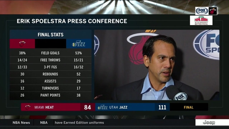 Erik Spoelstra credits Jazz's play but says Heat's performance in blowout loss is 'not acceptable'