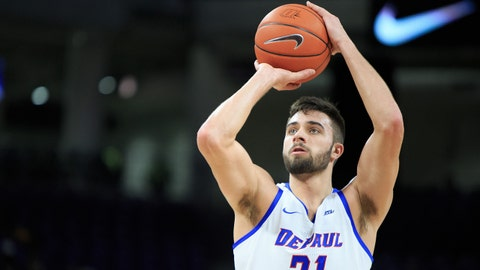 CHICAGO, IL - DECEMBER 14: Max Strus 31 of the DePaul Blue Demons shoots the ball during the game against the Illinois-Chicago Flames in the first half at Wintrust Arena on December 14, 2018 in Chicago, Illinois. (Photo by Justin Casterline/Getty Images)