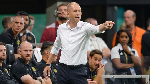 ATLANTA, GA  AUGUST 19:  Columbus head coach Gregg Berhalter gestures from the sideline during the match between Atlanta United and Columbus Crew on August 19th, 2018 at Mercedes-Benz Stadium in Atlanta, GA.  Atlanta United FC defeated Columbus Crew SC by a score of 3 - 1.  (Photo by Rich von Biberstein/Icon Sportswire via Getty Images)