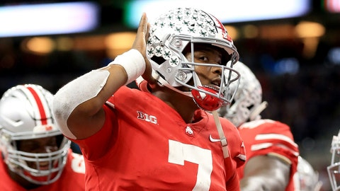 INDIANAPOLIS, IN - DECEMBER 01:  Dwayne Haskins Jr #7 of the Ohio State Buckeyes celebrates after throwing a touchdown pass against the Northwestern Wildcats during the Big Ten Championship at Lucas Oil Stadium on December 1, 2018 in Indianapolis, Indiana.  (Photo by Andy Lyons/Getty Images)