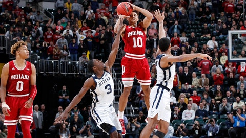 INDIANAPOLIS, IN - DECEMBER 15: Rob Phinisee #10 of the Indiana Hoosiers hits the game-winning shot against the Butler Bulldogs in the second half of the Crossroads Classic at Bankers Life Fieldhouse on December 15, 2018 in Indianapolis, Indiana. Indiana won 71-68. (Photo by Joe Robbins/Getty Images)