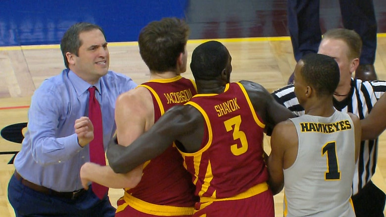 Scuffle breaks out between Iowa and Iowa State after charging call