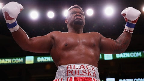 CHICAGO, IL - OCTOBER 06:  Jarrell Miller celebrates a second round knock out of Tomasz Adamek in a Heavyweight contest at Wintrust Arena on October 6, 2018 in Chicago, Illinois.  (Photo by Jonathan Daniel/Getty Images)