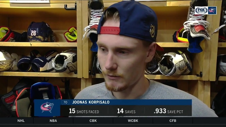 Joonas Korpisalo explains the challenge of replacing a goalie mid-game