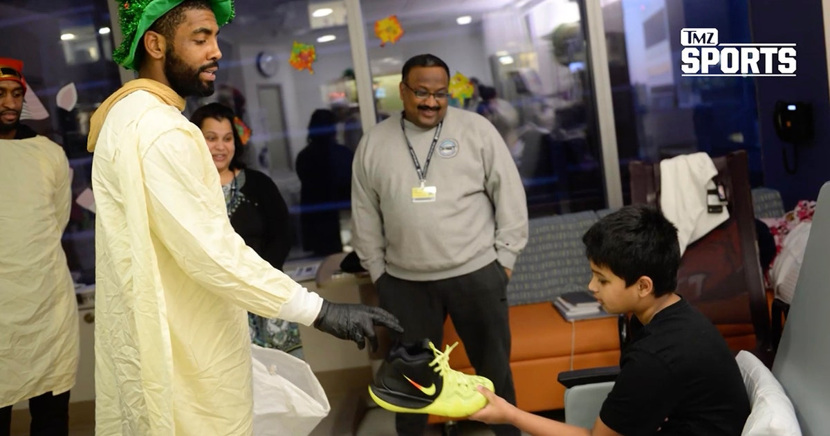 12ad80c0ee Kyrie Irving gets roasted by a kid during his visit to a children's hospital  | TMZ SPORTS | FOX Sports