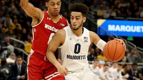 MILWAUKEE, WISCONSIN - DECEMBER 08:  Markus Howard #0 of the Marquette Golden Eagles dribbles the ball while being guarded by D'Mitrik Trice #0 of the Wisconsin Badgers in the first half at the Fiserv Forum on December 08, 2018 in Milwaukee, Wisconsin. (Photo by Dylan Buell/Getty Images)