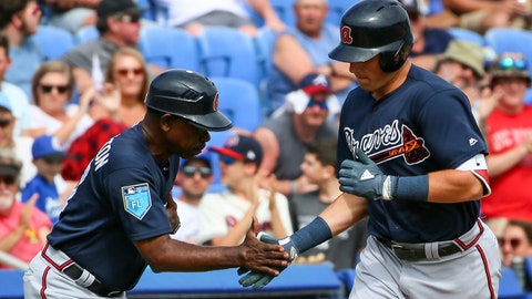 Mar 6, 2018; Dunedin, FL, USA; Atlanta Braves third baseman Austin Riley (83) celebrates with third base coach Ron Washington (37) after hitting a home run during the sixth inning of a Spring Training baseball game against the Toronto Blue Jays at Dunedin Stadium. Mandatory Credit: Butch Dill-USA TODAY Sports