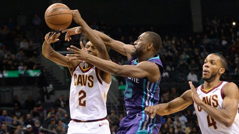 Dec 19, 2018; Charlotte, NC, USA; Cleveland Cavaliers guard Collin Sexton (2) is defended by Charlotte Hornets guard Kemba Walker (15) during the second half at the Spectrum Center. Hornets won 110-99.  Mandatory Credit: Sam Sharpe-USA TODAY Sports