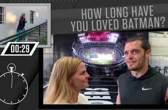 Shannon Spake interviews Derek Carr about all things Batman | 1 UP 1 DOWN