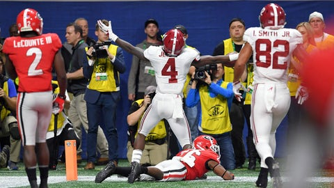 Dec 1, 2018; Atlanta, GA, USA; Alabama Crimson Tide wide receiver Jerry Jeudy (4) celebrates after catching a touchdown against the Georgia Bulldogs during the forth quarter in the SEC championship game at Mercedes-Benz Stadium. Mandatory Credit: Dale Zanine-USA TODAY Sports