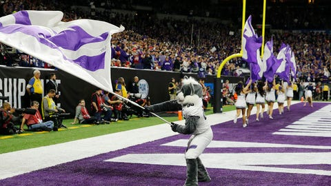 Dec 1, 2018; Indianapolis, IN, USA; Northwestern Wildcats mascot waves a flag before the game against the Ohio State Buckeyes in the Big Ten conference championship game at Lucas Oil Stadium. Mandatory Credit: Brian Spurlock-USA TODAY Sports