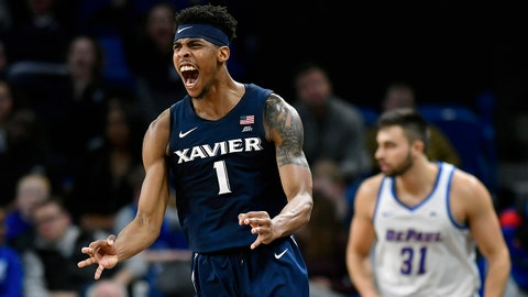 CHICAGO, IL - DECEMBER 29: Xavier Musketeers guard Paul Scruggs (1) reacts after making a three point basket against the DePaul Blue Demons on December 29, 2018 at the Wintrust Arena in Chicago, Illinois.  (Photo by Quinn Harris/Icon Sportswire via Getty Images)