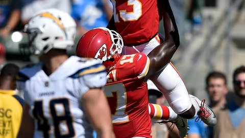 <p>               FILE - In this Sunday, Sept. 9, 2018, file photo, Kansas City Chiefs wide receiver De'Anthony Thomas celebrates after scoring with wide receiver Chris Conley during the second half of an NFL football game against the Los Angeles Chargers in Carson, Calif. The Kansas City Chiefs are missing their star running back, likely without his backup and could have their top two wide receivers hobbled or shelved for their crucial AFC West showdown against the Los Angeles Chargers on Thursday, Dec. 13. (AP Photo/Kelvin Kuo, File)             </p>