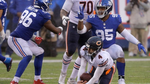 <p>               FILE- In this Dec. 2, 2018, file photo, New York Giants outside linebacker Kareem Martin (96) and defensive end B.J. Hill (95) celebrate after sacking Chicago Bears quarterback Chase Daniel (4) during the second half of an NFL football game in East Rutherford, N.J. It's been feast or famine when it comes to sacks for the Giants. They had 14 in the first 11 games, and then picked up five each in next two weeks against Chicago and Washington. (AP Photo/Seth Wenig)             </p>