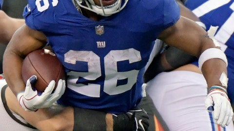 <p>               FILE - In this Nov. 18, 2018, file photo, New York Giants' Saquon Barkley runs during the second half of an NFL football game against the Tampa Bay Buccaneers, in East Rutherford, N.J. Tennessee plays at the New York Giants on Sunday. (AP Photo/Bill Kostroun, File)             </p>
