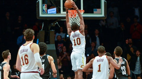 <p>               Cleveland Cavaliers guard Alec Burks (10) dunks with 3.2 seconds remaining to give the Cleveland Cavaliers a 99-97 win over the Brooklyn Nets in the second half of an NBA basketball game, Monday, Dec. 3, 2018, in New York. (AP Photo/Howard Simmons)             </p>