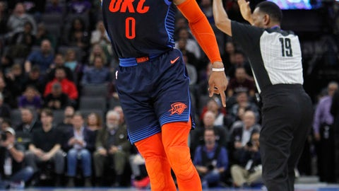 <p>               Oklahoma City Thunder guard Russell Westbrook (0) celebrates after hitting a 3-point basket against the Sacramento Kings during the first half of an NBA basketball game in Sacramento, Calif., Wednesday, Dec. 19, 2018. (AP Photo/Steve Yeater)             </p>