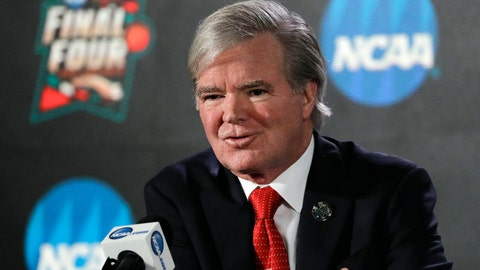 <p>               FILE - In this March 29, 2018, file photo, NCAA President Mark Emmert speaks during a news conference at the Final Four NCAA college basketball tournament in San Antonio. Emmert says new rules allowing the association to use information from legal proceedings will help its investigation of the college basketball corruption, but the inquiry is unlikely to be completed before the next men's tournament. (AP Photo/David J. Phillip File)             </p>